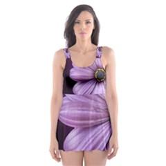 Purple Flower Skater Dress Swimsuit