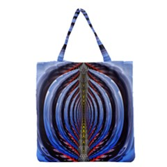 Illustration Robot Wave Rainbow Grocery Tote Bag