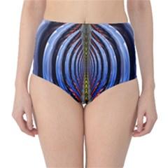 Illustration Robot Wave Rainbow High Waist Bikini Bottoms