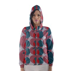 Pink Red Grey Three Art Hooded Wind Breaker (women)