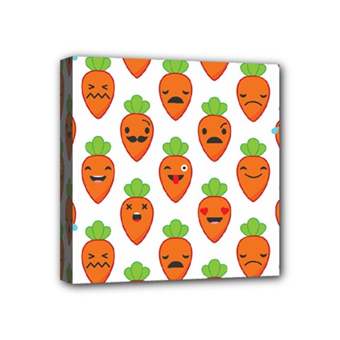 Seamless Background Carrots Emotions Illustration Face Smile Cry Cute Orange Mini Canvas 4  X 4