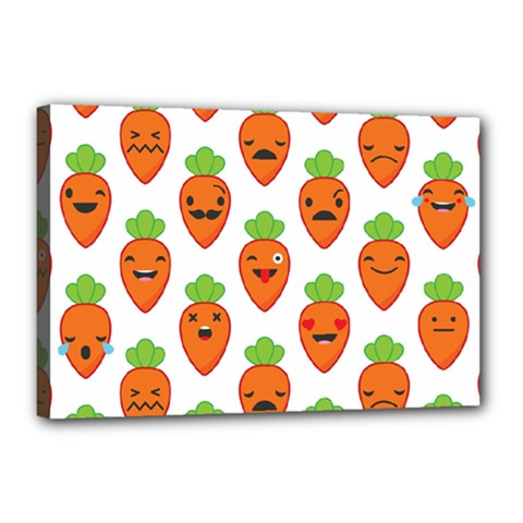 Seamless Background Carrots Emotions Illustration Face Smile Cry Cute Orange Canvas 18  X 12