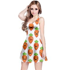 Seamless Background Carrots Emotions Illustration Face Smile Cry Cute Orange Reversible Sleeveless Dress
