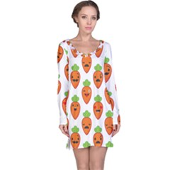 Seamless Background Carrots Emotions Illustration Face Smile Cry Cute Orange Long Sleeve Nightdress