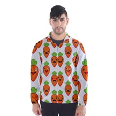 Seamless Background Carrots Emotions Illustration Face Smile Cry Cute Orange Wind Breaker (men)