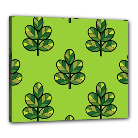 Seamless Background Green Leaves Black Outline Canvas 24  X 20