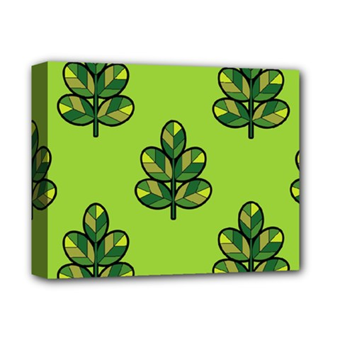 Seamless Background Green Leaves Black Outline Deluxe Canvas 14  X 11