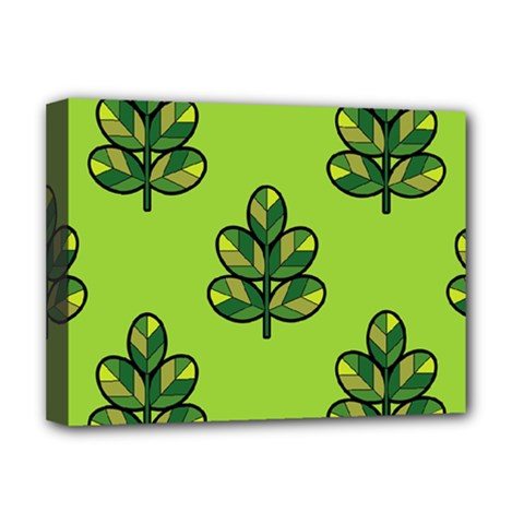 Seamless Background Green Leaves Black Outline Deluxe Canvas 16  X 12