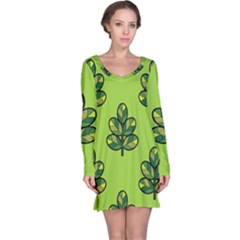 Seamless Background Green Leaves Black Outline Long Sleeve Nightdress