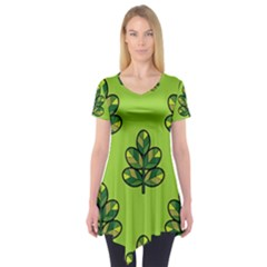 Seamless Background Green Leaves Black Outline Short Sleeve Tunic