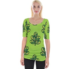 Seamless Background Green Leaves Black Outline Wide Neckline Tee