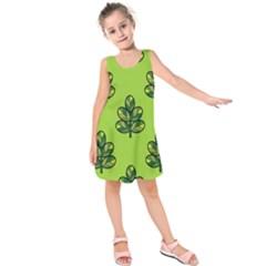 Seamless Background Green Leaves Black Outline Kids  Sleeveless Dress