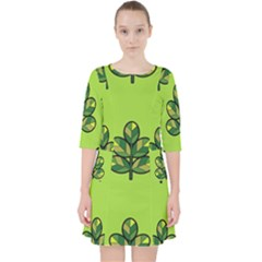 Seamless Background Green Leaves Black Outline Pocket Dress