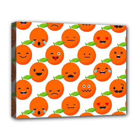 Seamless Background Orange Emotions Illustration Face Smile  Mask Fruits Deluxe Canvas 20  X 16