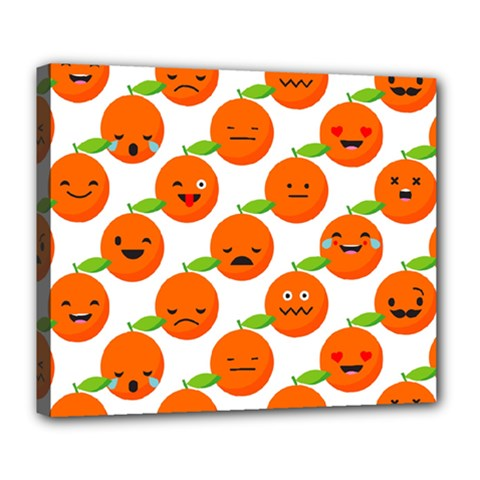 Seamless Background Orange Emotions Illustration Face Smile  Mask Fruits Deluxe Canvas 24  X 20