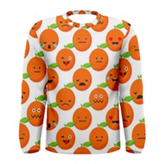 Seamless Background Orange Emotions Illustration Face Smile  Mask Fruits Men s Long Sleeve Tee