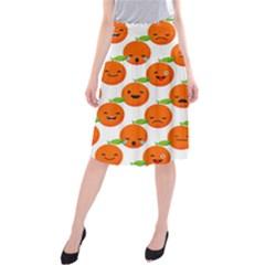 Seamless Background Orange Emotions Illustration Face Smile  Mask Fruits Midi Beach Skirt