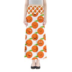 Seamless Background Orange Emotions Illustration Face Smile  Mask Fruits Full Length Maxi Skirt