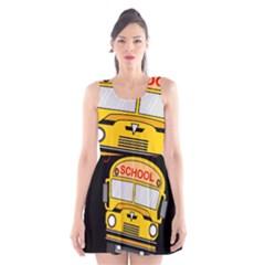 Back To School   School Bus Scoop Neck Skater Dress