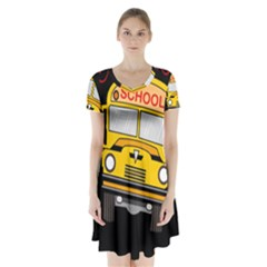 Back To School   School Bus Short Sleeve V Neck Flare Dress