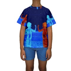 Space Boys  Kids  Short Sleeve Swimwear