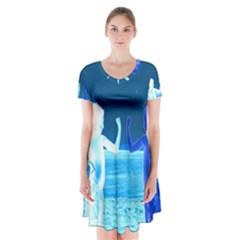 Space Boys  Short Sleeve V Neck Flare Dress