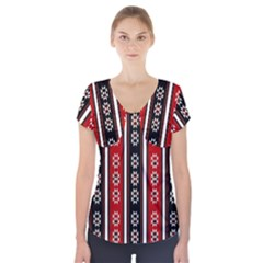 Folklore Pattern Short Sleeve Front Detail Top
