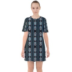 Folklore Pattern Sixties Short Sleeve Mini Dress