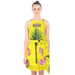 Aloha   Summer Fun 2 Halter Collar Waist Tie Chiffon Dress