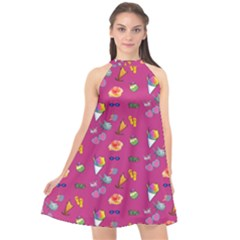 Aloha   Summer Fun 1b Halter Neckline Chiffon Dress