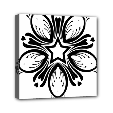 Star Sunflower Flower Floral Black Mini Canvas 6  X 6