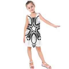 Star Sunflower Flower Floral Black Kids  Sleeveless Dress