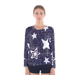 Star Space Line Blue Art Cute Kids Women s Long Sleeve Tee