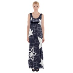 Star Space Line Blue Art Cute Kids Maxi Thigh Split Dress