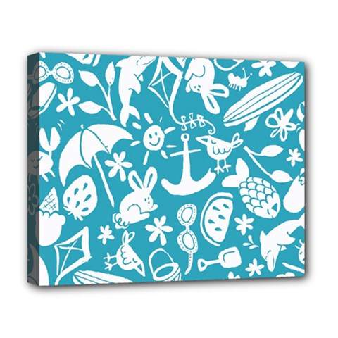 Summer Icons Toss Pattern Deluxe Canvas 20  X 16