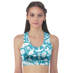 Summer Icons Toss Pattern Sports Bra