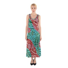 Recursive Coupled Turing Pattern Red Blue Sleeveless Maxi Dress