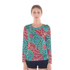 Recursive Coupled Turing Pattern Red Blue Women s Long Sleeve Tee