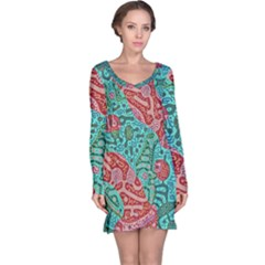 Recursive Coupled Turing Pattern Red Blue Long Sleeve Nightdress