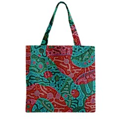 Recursive Coupled Turing Pattern Red Blue Zipper Grocery Tote Bag