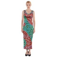 Recursive Coupled Turing Pattern Red Blue Fitted Maxi Dress