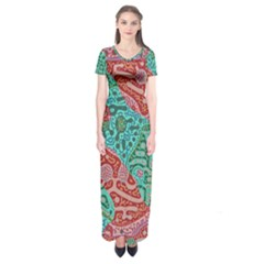 Recursive Coupled Turing Pattern Red Blue Short Sleeve Maxi Dress