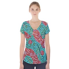 Recursive Coupled Turing Pattern Red Blue Short Sleeve Front Detail Top