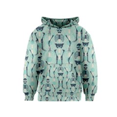 Skull Skeleton Repeat Pattern Subtle Rib Cages Bone Monster Halloween Kids  Pullover Hoodie