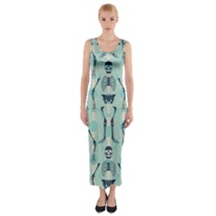 Skull Skeleton Repeat Pattern Subtle Rib Cages Bone Monster Halloween Fitted Maxi Dress
