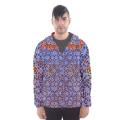 Silk Screen Sound Frequencies Net Blue Hooded Wind Breaker (men)
