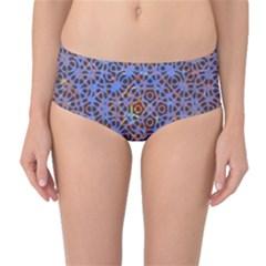 Silk Screen Sound Frequencies Net Blue Mid Waist Bikini Bottoms