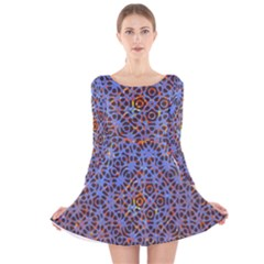 Silk Screen Sound Frequencies Net Blue Long Sleeve Velvet Skater Dress