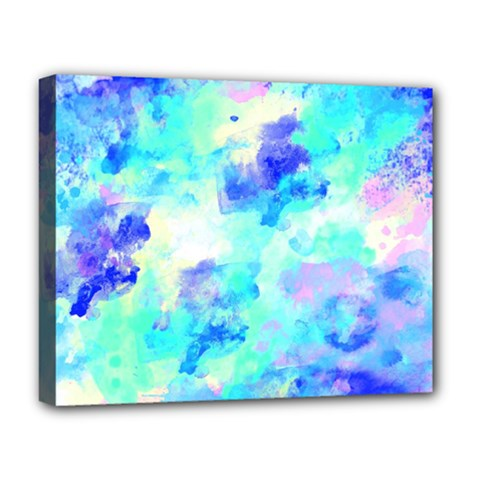 Transparent Colorful Rainbow Blue Paint Sky Deluxe Canvas 20  X 16