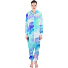 Transparent Colorful Rainbow Blue Paint Sky Hooded Jumpsuit (ladies)